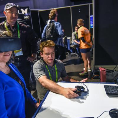 Nagin Cox takes in some VR at SIGGRAPH 2016. Photo courtesy John Fujii