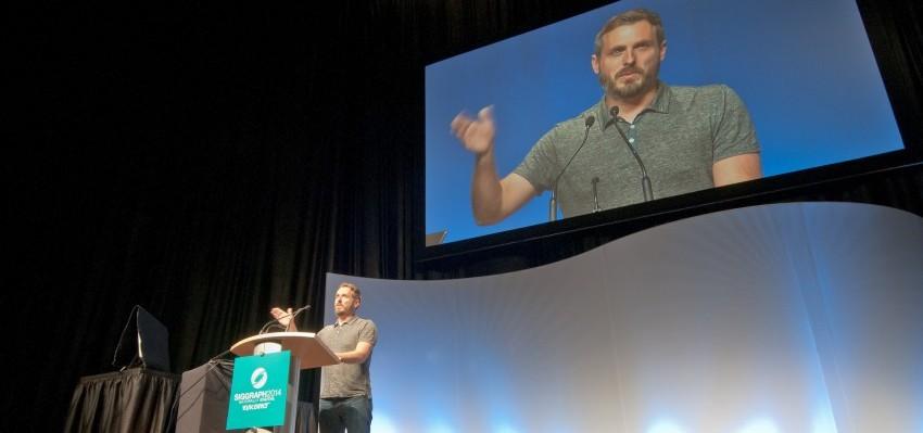 "Patrick Osborne at SIGGRAPH 2014 Computer Animation Festival, introducing ""Feast."""