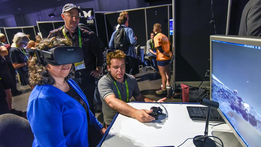Z. Nagin Cox in VR Village at SIGGRAPH 2016