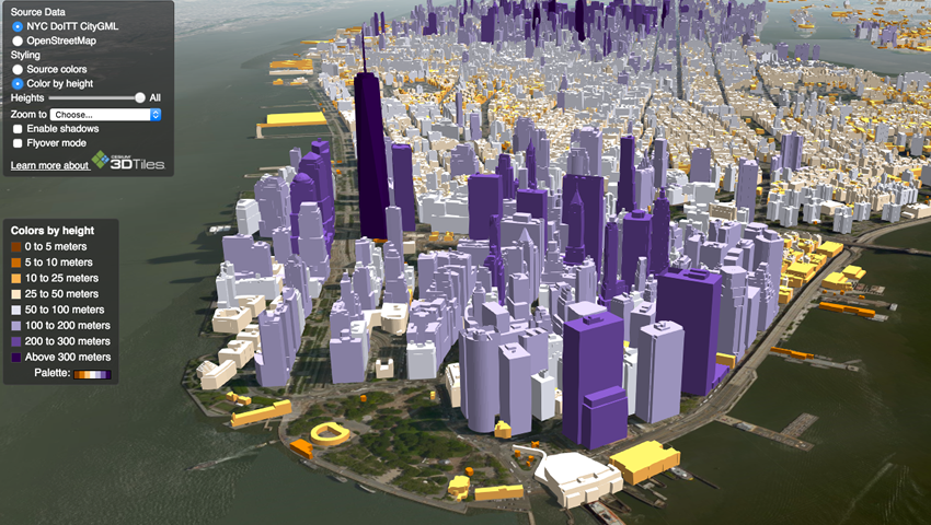 Cesium, http://cesiumjs.org/, simulation of New York City skyline. Image provided by Analytics Graphics Inc.
